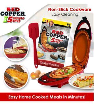 Red Copper 5 Minute Chef Electric Cooker Double-Coated Non-stick Quick Cooking Pan