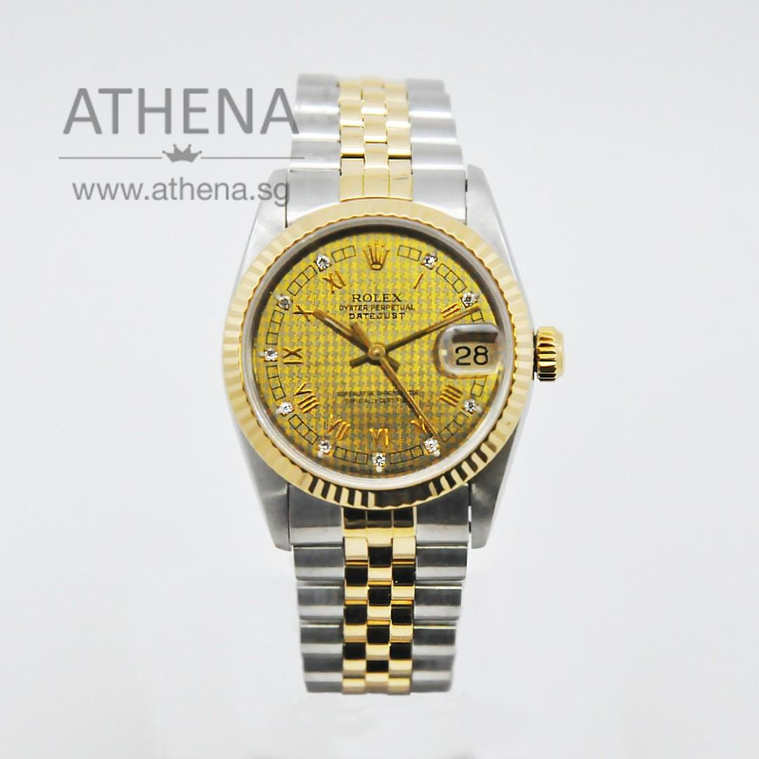 "ROLEX ""HALF-GOLD"" MID-SIZE OYSTER PERPETUAL DATEJUST ""N"" SERIES ""RARE CHAMPAGNE ROMAN DIAMOND DIAL"" 68273 JGWRL_106"