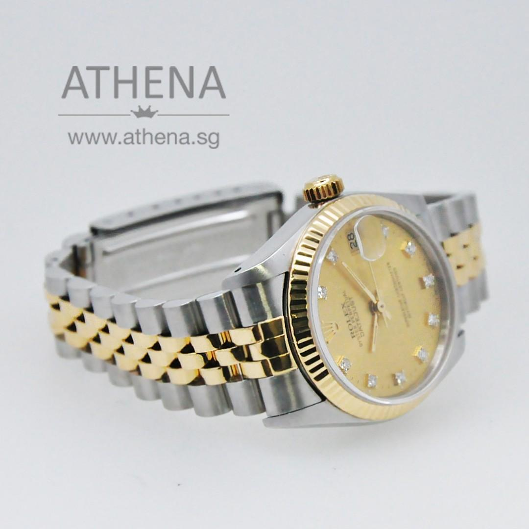 """ROLEX """"HALF-GOLD"""" MID-SIZE OYSTER PERPETUAL DATEJUST """"N"""" SERIES """"GOLD DIAMOND DIAL"""" WITH CERT 68273 JWWRL_1306"""
