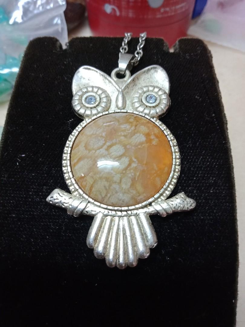 貓頭鷹珊瑚玉項鍊