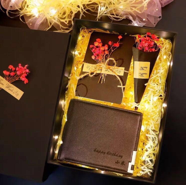 黑色牛皮銀包 連精美禮盒裝 (順豐包郵)😍父親節 情人節 生日 特別節日之心意小手工禮物🎁 送禮佳品✨