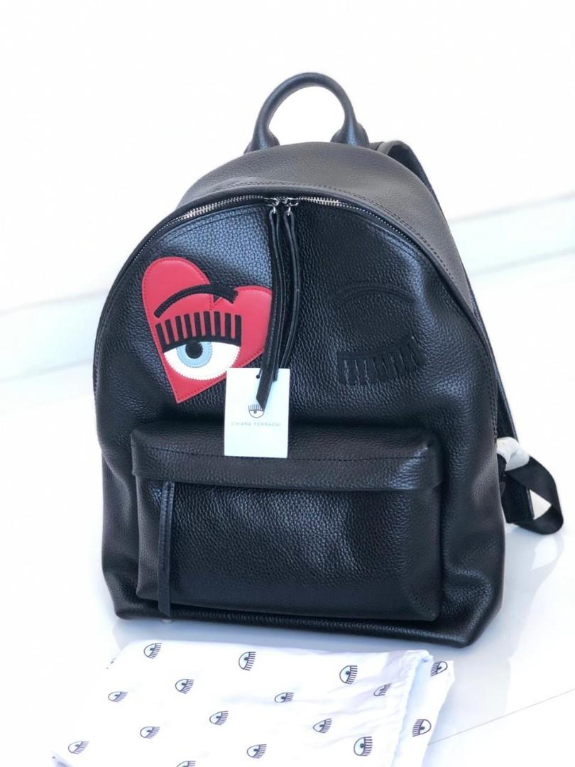 Authentic NEW Backpack Chiara Ferragni Black Leather with Tag&DB (36x31cm)