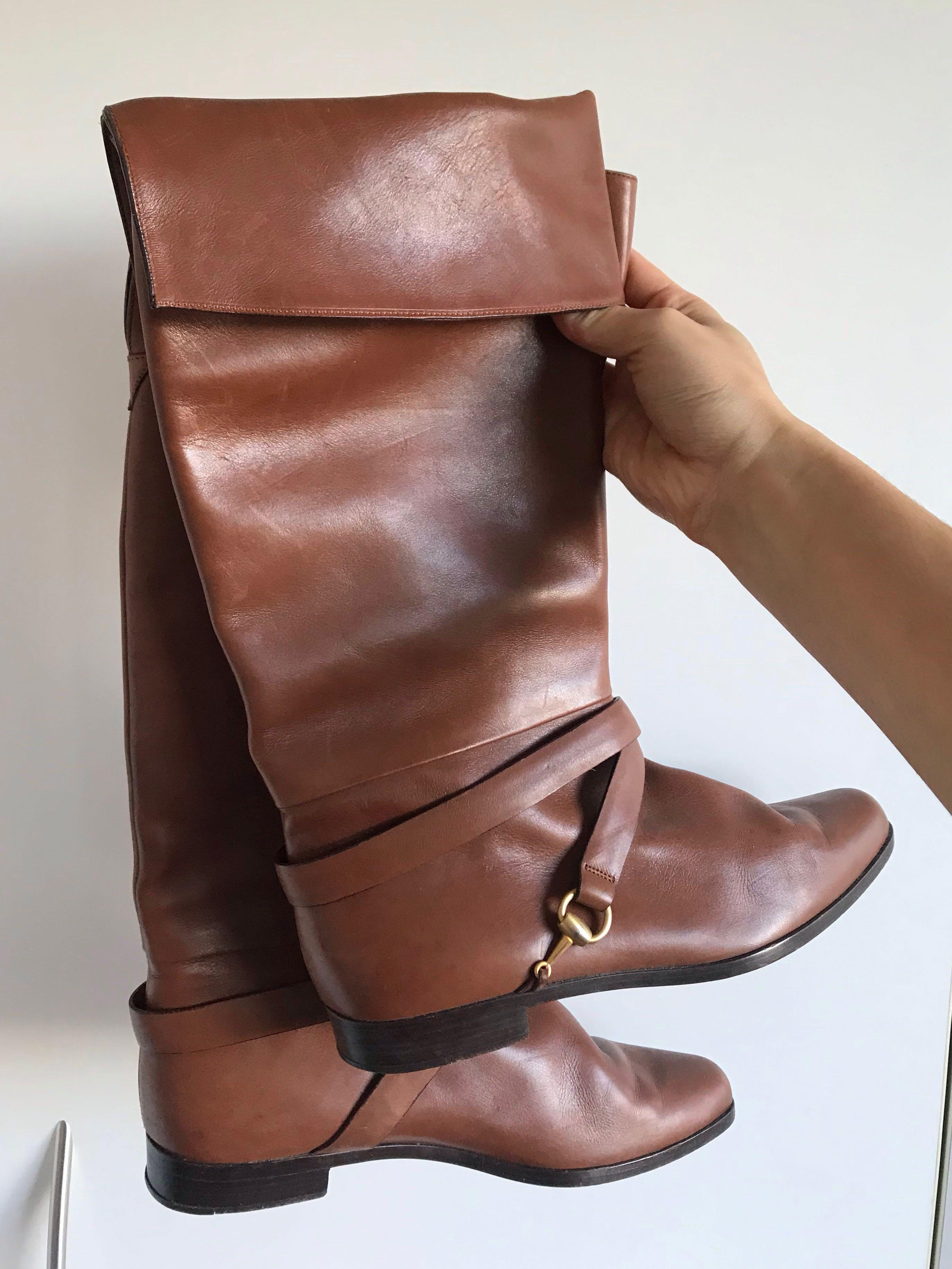 Authentic vintage Gucci leather long tall boots with signature Gucci buckle detail size 39