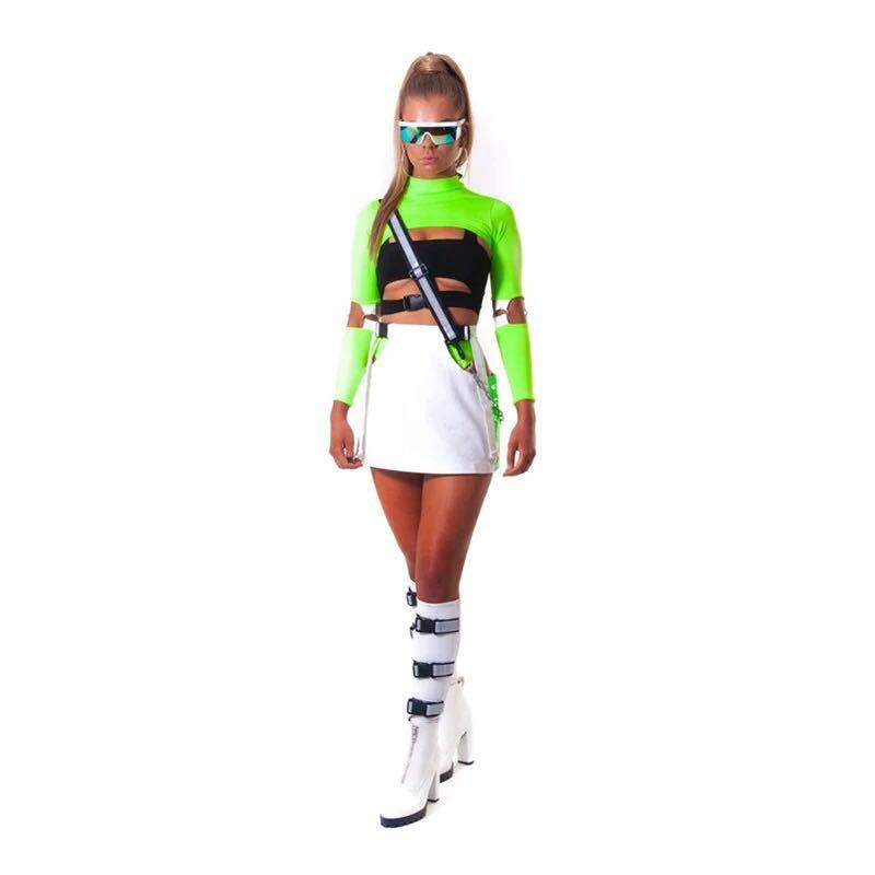 Autumn Neon Color Ribbed T Shirt Women Hollow Out Long Sleeve Mock Neck Tshirt Knitted Crop Tops Tee Femme