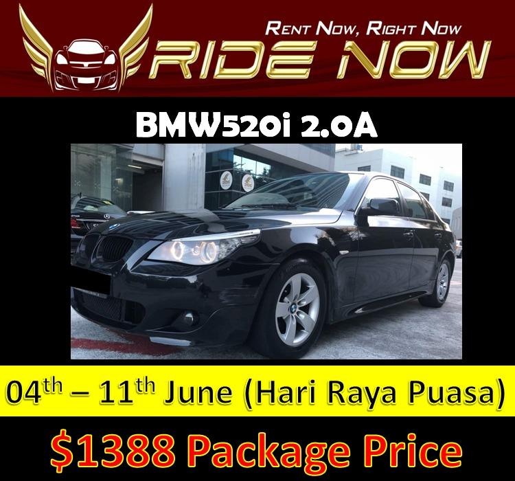 BMW520i 2.0A P plate Friendly and Affordable Car Rental For Hari Raya