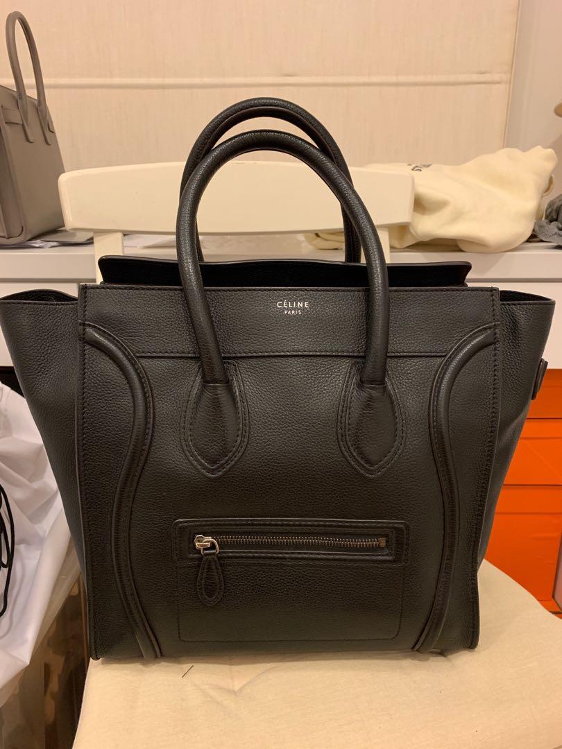 b9d4aa52a4d6c Celine Mini Luggage Bag Black Pebbled Leather, Luxury, Bags ...