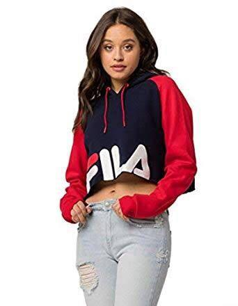 Fila red and black cropped hoodie sweater size medium