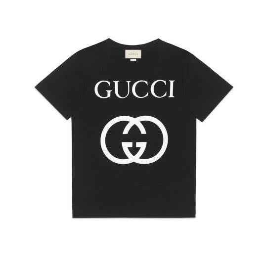 a60f8cd8 Gucci Interlocking G Tee Black Colour (AUTHENTIC), Men's Fashion, Clothes,  Tops on Carousell