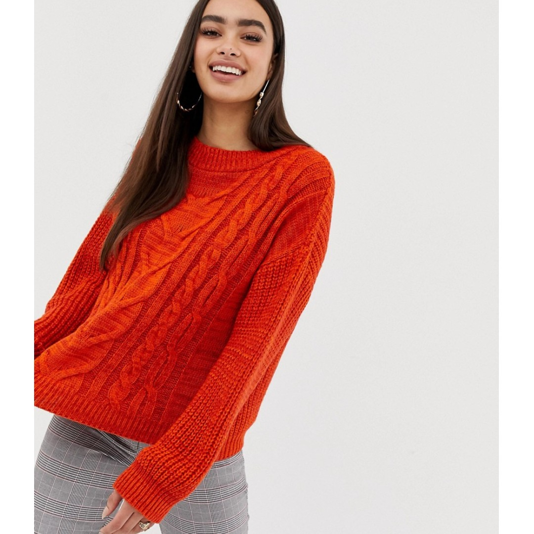 4a725dbf020807 Missguided cable knit jumper in orange, Women's Fashion, Clothes, Tops on  Carousell