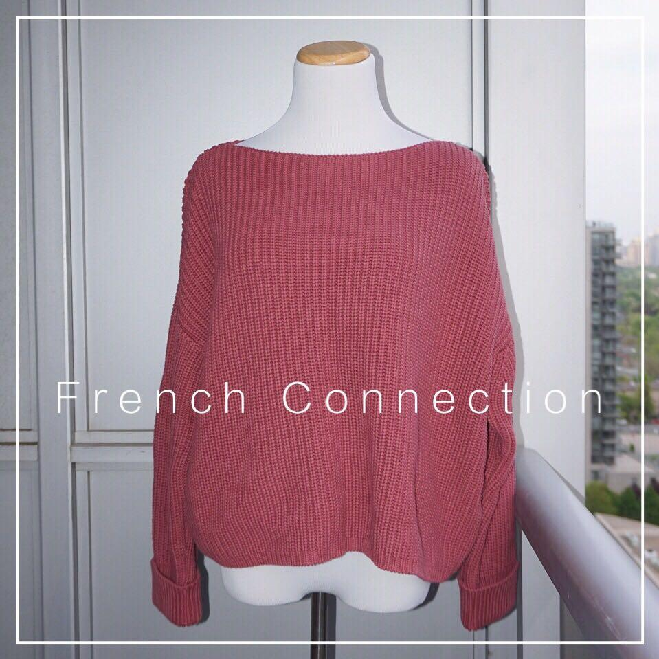 *NWT* French Connection 100% Cotton Mozart Round Neck Jumper in Light Baked Cherry Women Size L