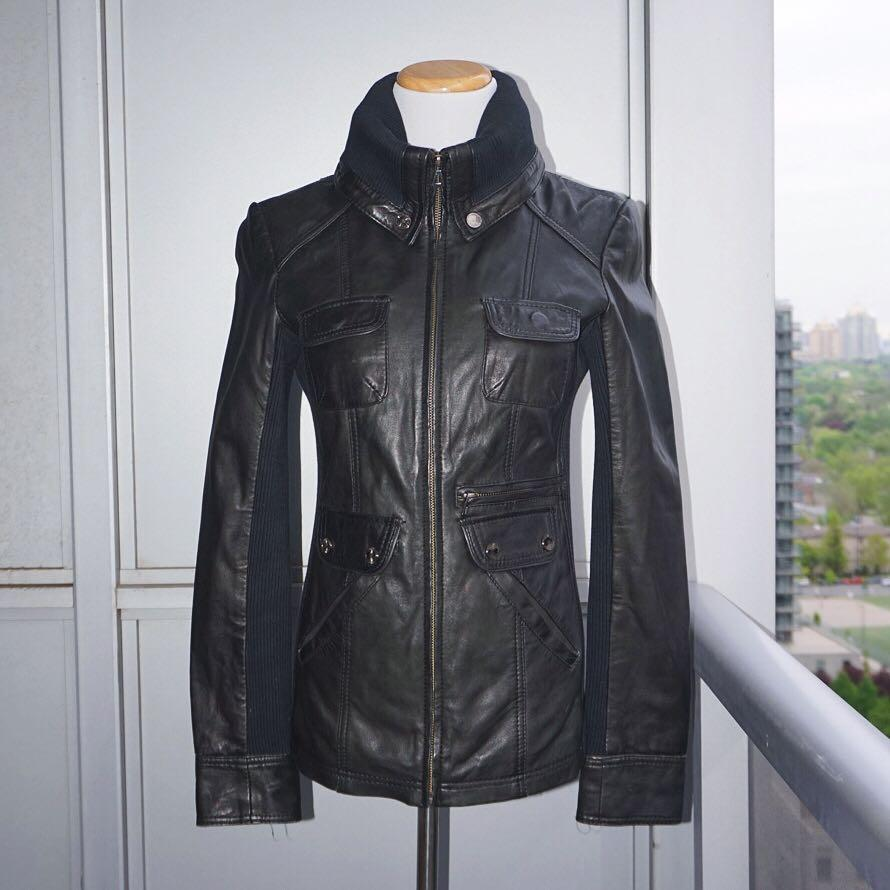 *Perfect Condition* Bod & Christensen 100% Genuine Leather Jacket in Black Women Size XS