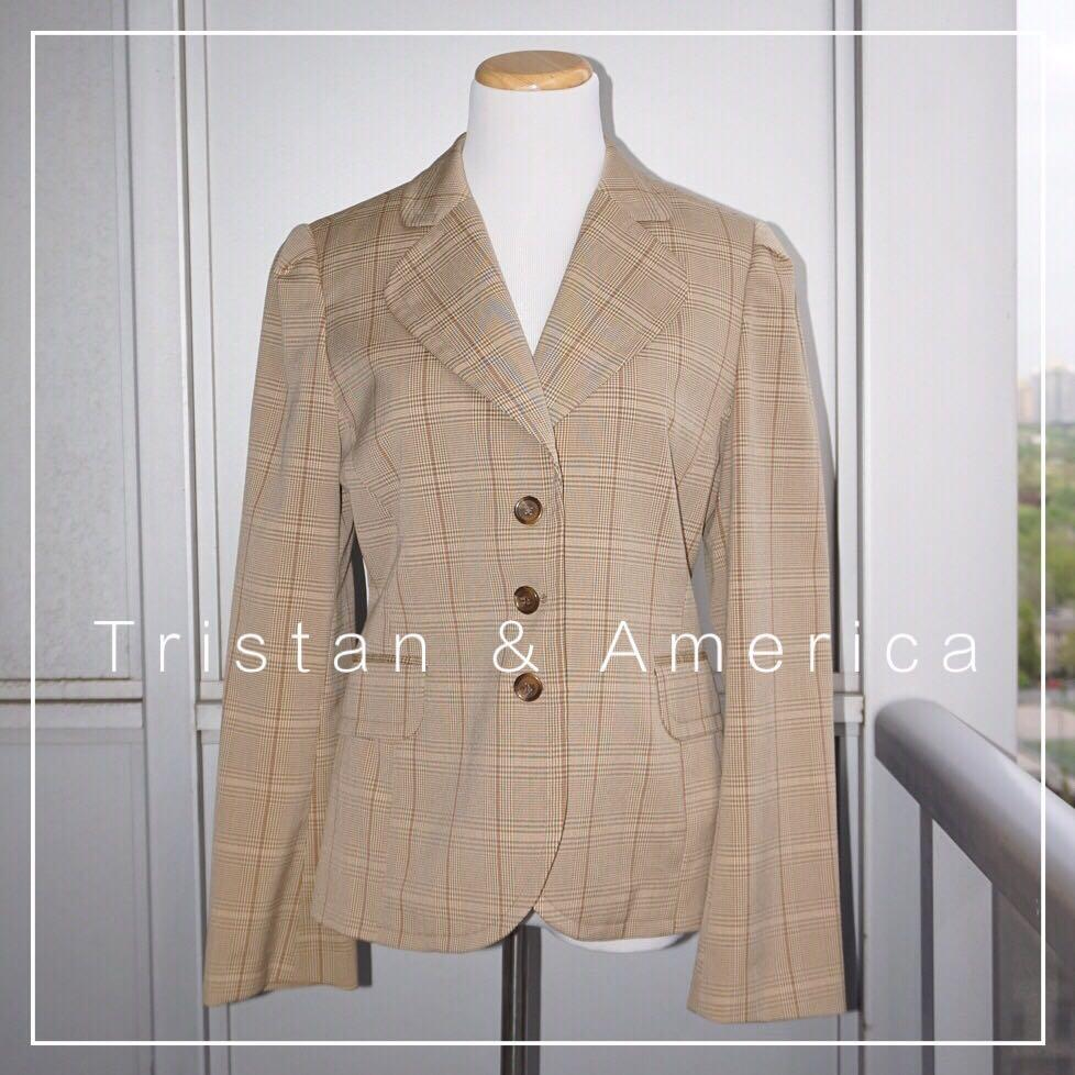 *Perfect Condition* Tristan & America 3-Button Blazer in Beige Plaids Women Size M