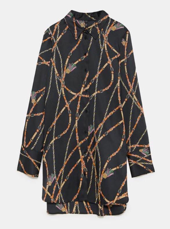 *PRICE DROP* Zara Trafaluc Chain & Tassel Silk Print Blouse