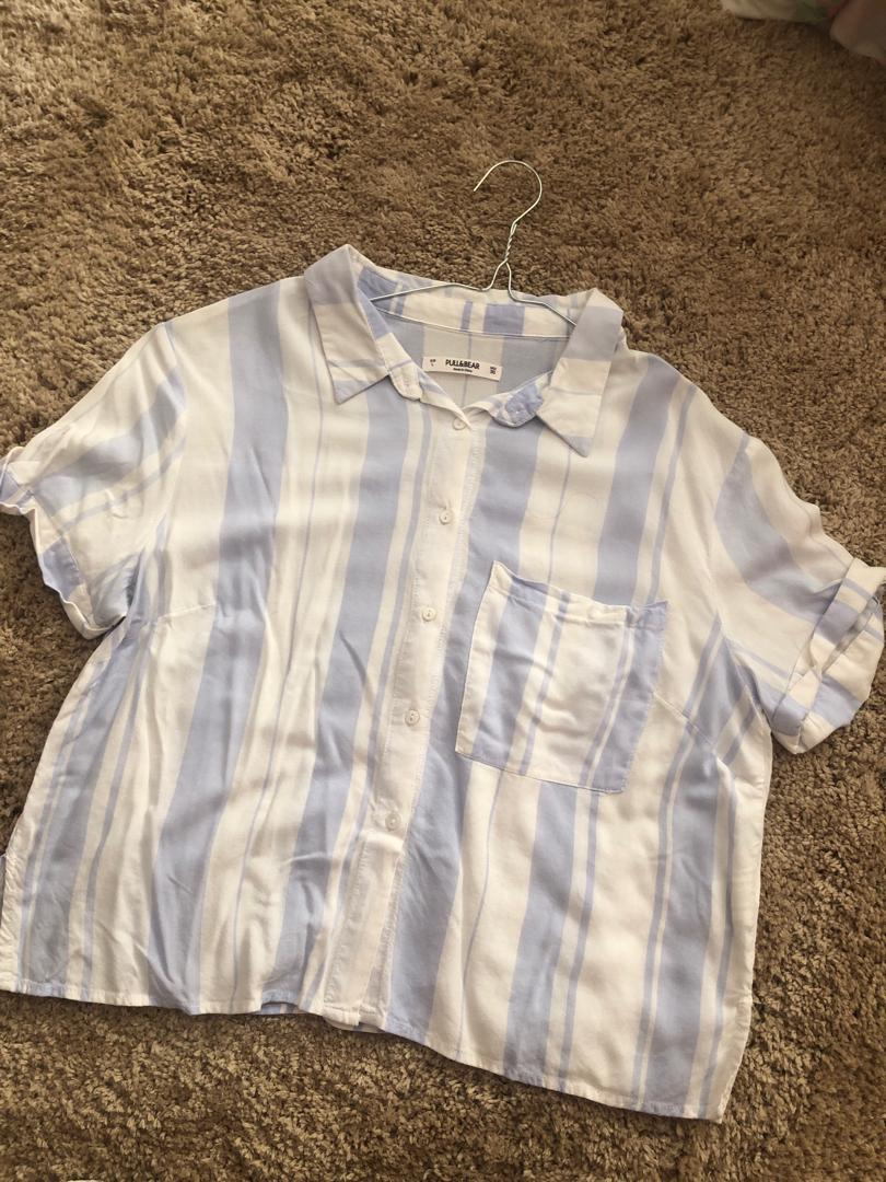 Pull and Bear White Blue Stripe Collared Shirt