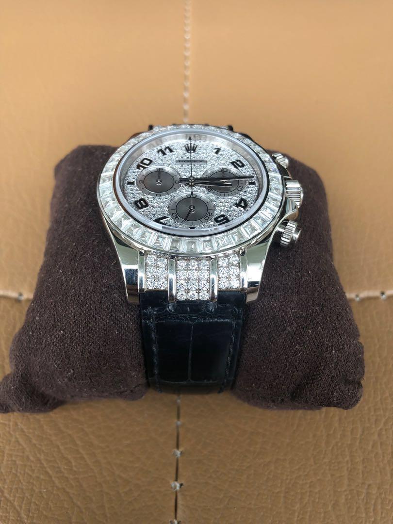 Rolex Cosmograph Daytona Pave Diamond dial 18k white gold Case set with 48 diamonds leather strap. 116599