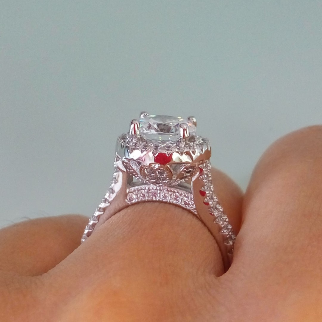 Fairytale Lotus Flower White Gold Plated Halo Solitaire Cz Diamond