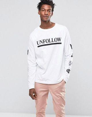 "🚚 ASOS wood wood long sleeve white ""unfollow"" top"