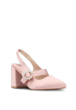 Velvet buckel heels