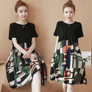 Korean Fashion Short High Waist Long Slim Dress Casual Plus Size Tops Blouse Girl Pregnant Floral