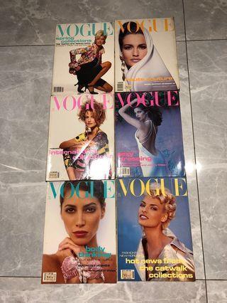 Vogue 90's Vintage Magazines - 6 pcs set
