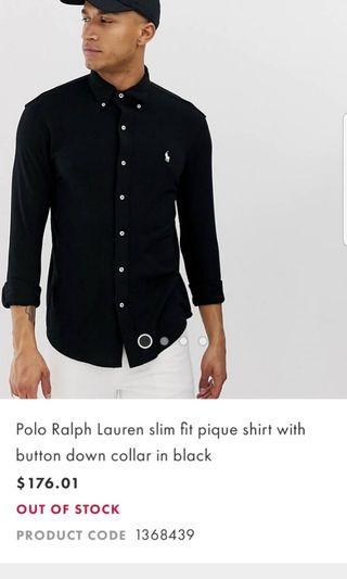 Ralph Lauren black XS slim fit shirt