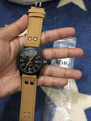 SOKI Men's Military Aviator Leather Strap Watch