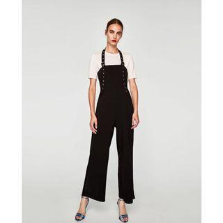 (BN) 💯 Authentic Zara Black Jumpsuit with Ribbon and Buckles