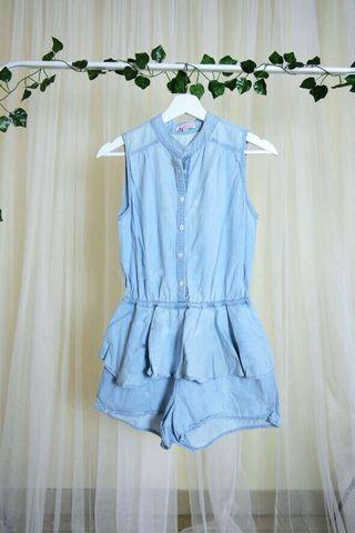 Blue Denim Jumpsuit / Playsuit Biru Jeans Peplum