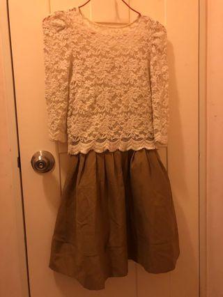日本 Snidel 白色褸空上衣 連身裙 2件套