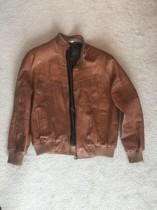 Brown faux leather men's jacket (size XL)