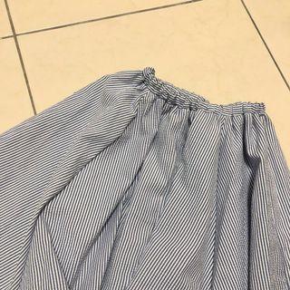 🚚 出清含運!(下單前詢問出貨日期) Queenshop 細藍條紋傘裙