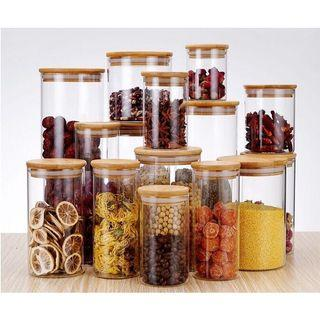 asotv air tight glass jar with bamboo lid 1104/1105