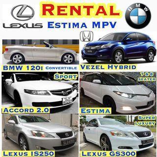 Car Rental ✨Toyota Estima MPV($69) ✨Alphard($89) ✨ BMW 120i Convertible($79) ✨BMW 525 ($69) ✨Nissan Latio($49)✨Lexus Luxury GS450h Hybrid ($79)✨ ✨Stream($59) ✨ Leasing Rent +$10/day Grab GOJEK Private Hired