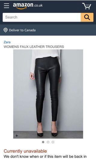 Zara leather pants.  I have two. Size M and S. Both brand new