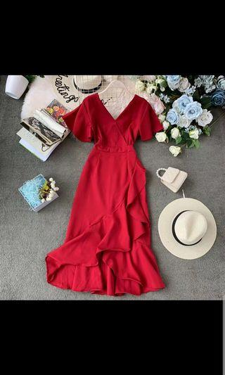 🚚 Preorder women sexy/dinner long dress - red/blue/black/green/pink
