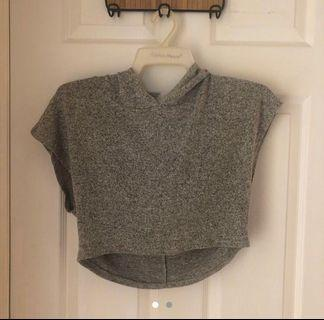 Grey Hood Crop Top