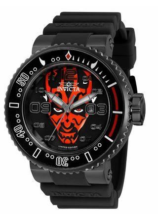 Invicta Men's Star Wars Stainless Steel Quartz Watch with Silicone Strap, Black 29.8