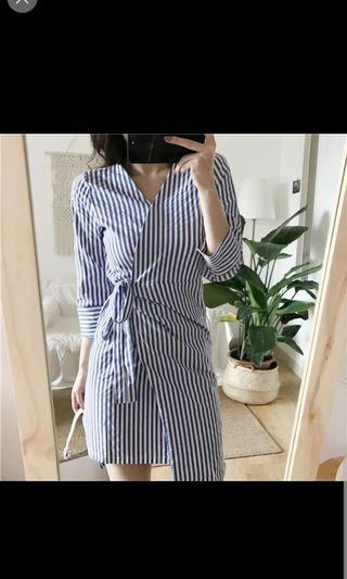 🚚 Preorder women Stripes Dress - blue/black