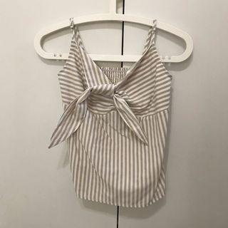 Beige/White Striped Ribbon Tie-Front Top
