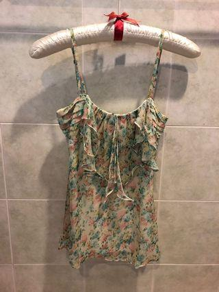 Meadow pastel florals ruffle top