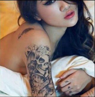 Black Fashion Temporary Tattoos Skull Rose Arm Body Art Transfer Sticker Fake Tattoo Waterproof