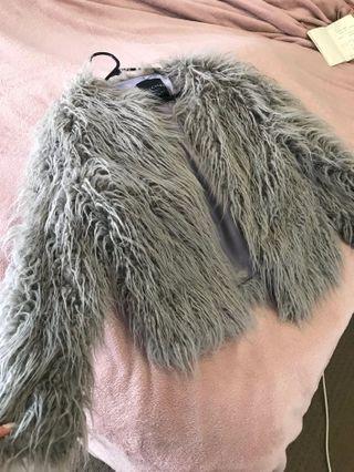 Grey faux coat