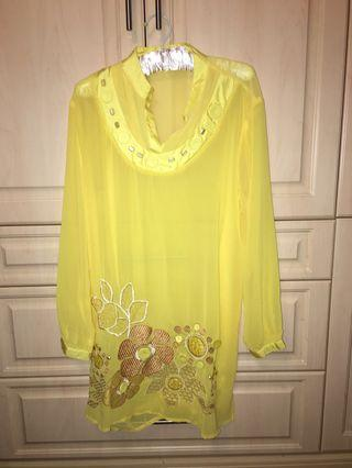 Yellow swim suit cover up size medium