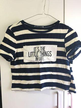 ZARA Crop Top Stripe Navy White