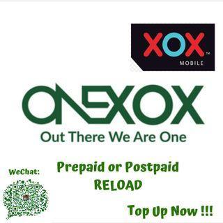 XOX Onexox Prepaid Or Postpaid Topup / Reload Murah