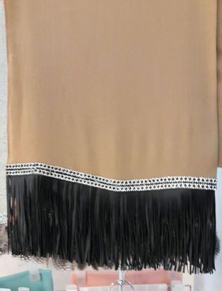🚚 Chiffon crepe shawl with Leather tassel and diamond lace