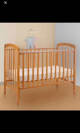 Wooden Baby Cot , FREE mattress FREE mosquito net