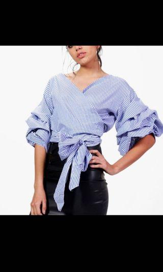 H&M Pinstripe Ruched Sleeves Wrap Top