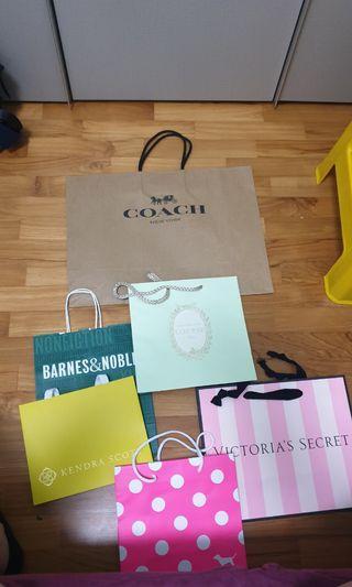 Paper Bags (Coach, Victoria's Secret, Laduree, Kendra Scott and Barnes & Noble)