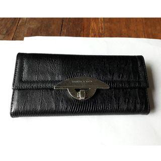 Charles & Keith Black Long Wallet, 7.5' long